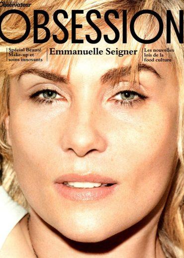 Emmanuelle Seigner, couverture d'OBSESSION coiffure par Sarra Na